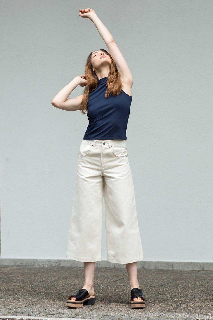 VON HUND Fashion & Design - Womenswear Lookbook S/S16, Navy Blue Gyda Tank & Off-white Dea Pants. Radical Price Transparency.  www.vonhund.com