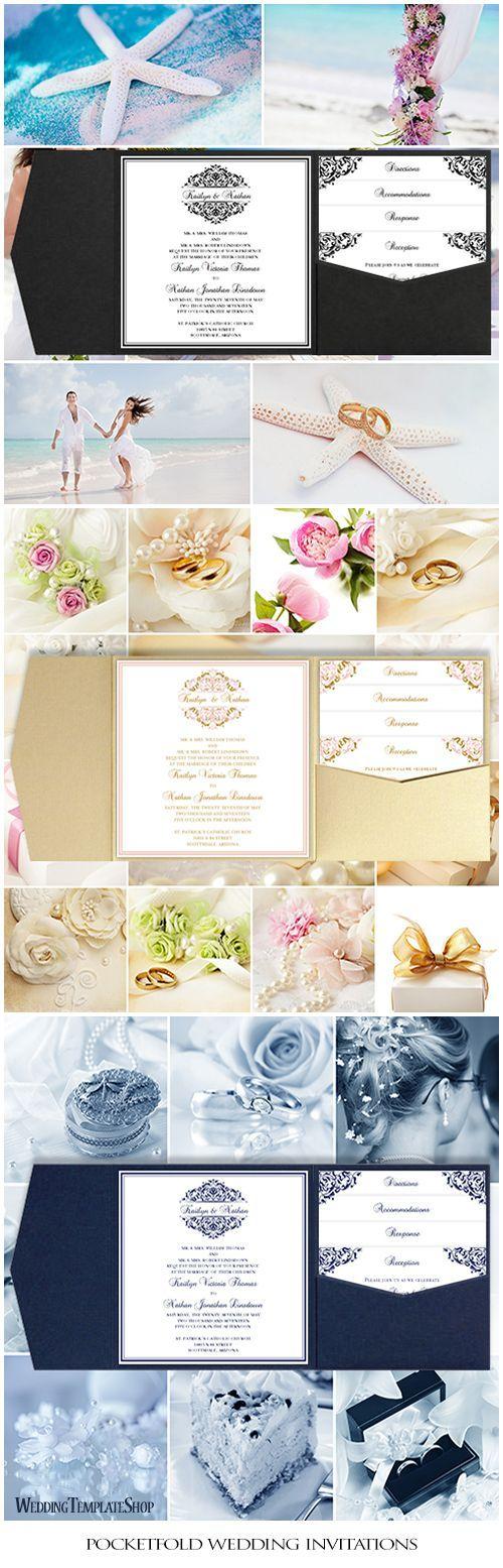Pocket Fold Wedding Invitations Grace Black Square