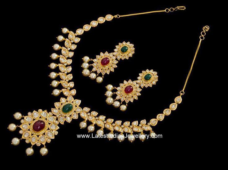 Beautiful Flat Diamond Necklace Set