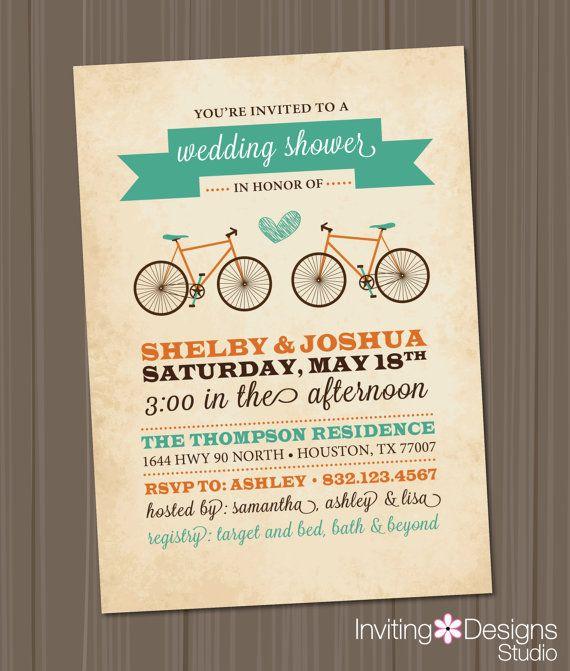 36 best erins bridal shower images on pinterest bicycle wedding bicycle wedding shower invitation bridal by invitingdesignstudio 1800 filmwisefo Choice Image