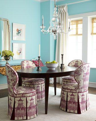 haute house gardon dining chair u0026 allerton dining table via using toile orientale fabric in plum