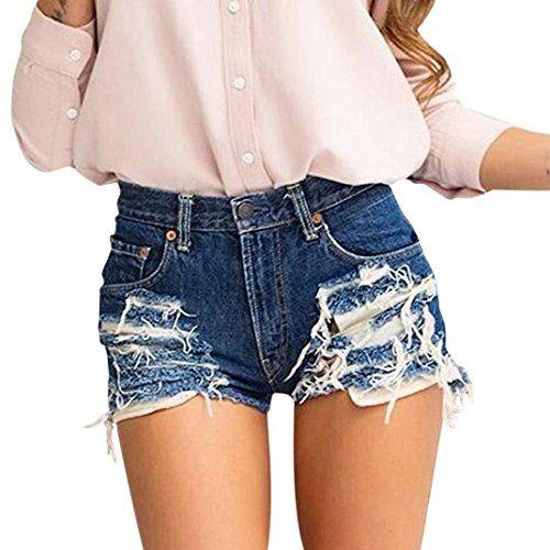 Qiangjinjiu Women Denim Shorts Summer High Waist Slim Short Jeans