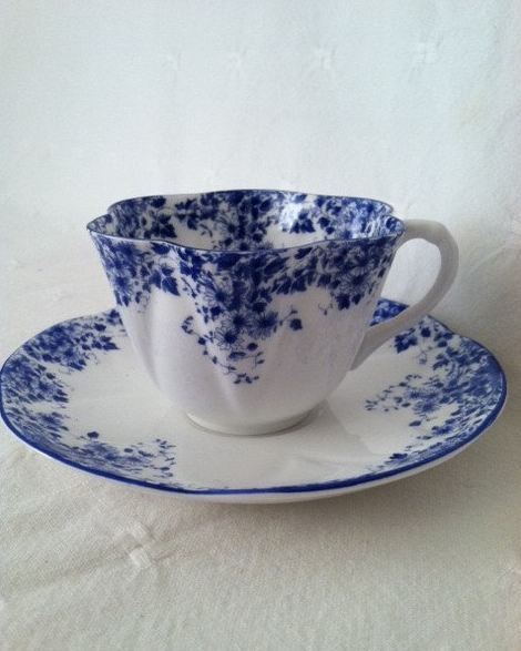 "Shelley ""Dainty Blue"" Fine Bone China Tea Cup and Saucer - Circa 1945 - 1966- I have these, they were my Great Grandmother's."