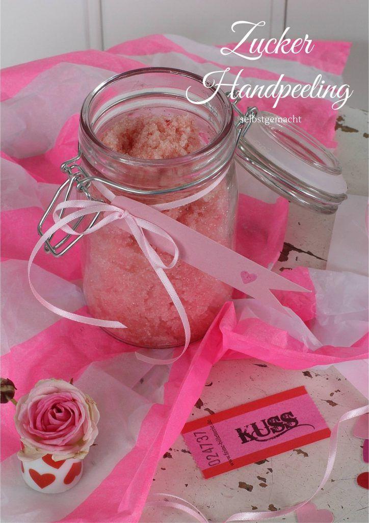 Muttertagsgeschenk basteln: Zucker-Öl-Handpeeling