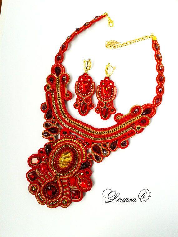 Soutache set red dark red gold colors. by LENARAOSMANSoutache