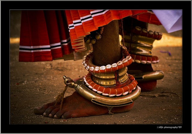 India |  Details of the ankelets worn by Theyyam dancers | © Dijaraj Nair { Theyyam (Malayalam: തെയ്യം) or Theyyattam or Thira is a popular Hindu ritual form of worship of North Malabar in Kerala state, India, predominant in the Kolathunadu area (consisting of present-day Kasargod, Kannur Districts, Mananthavady Taluk of Wayanad and Vadakara & Koyilandy Taluks of Kozhikode of Kerala state.}