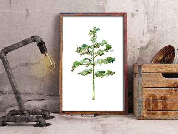 Pine tree #3 in green - ink painting - botanical art print - home decor by purdeybarcelona on Etsy