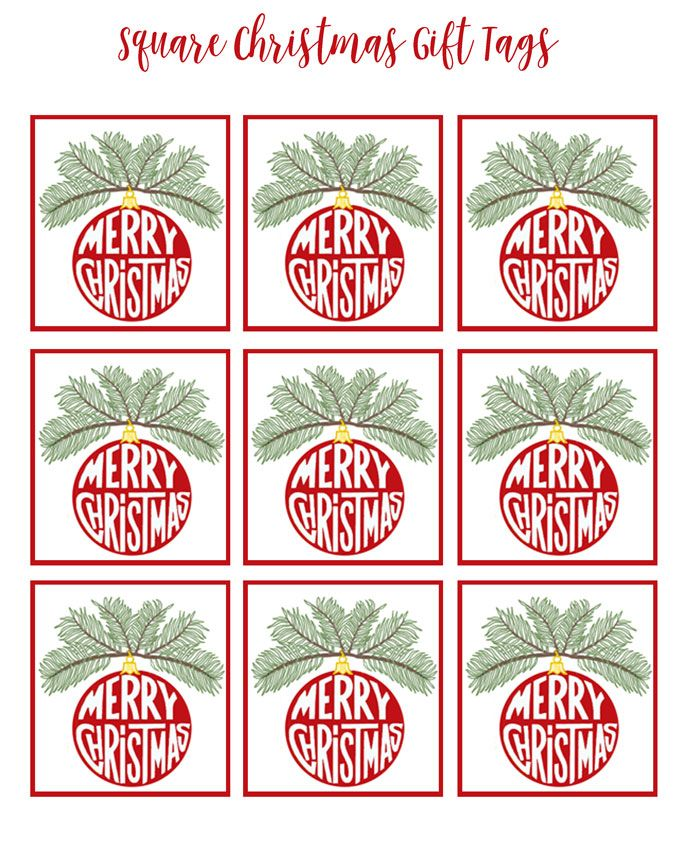 Free printable Christmas gift tags square