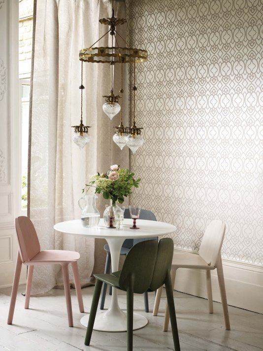 Imperial Lattice Wallpaper A lattice motif wallpaper detailed with silver reflective beads on ivory mica paper.
