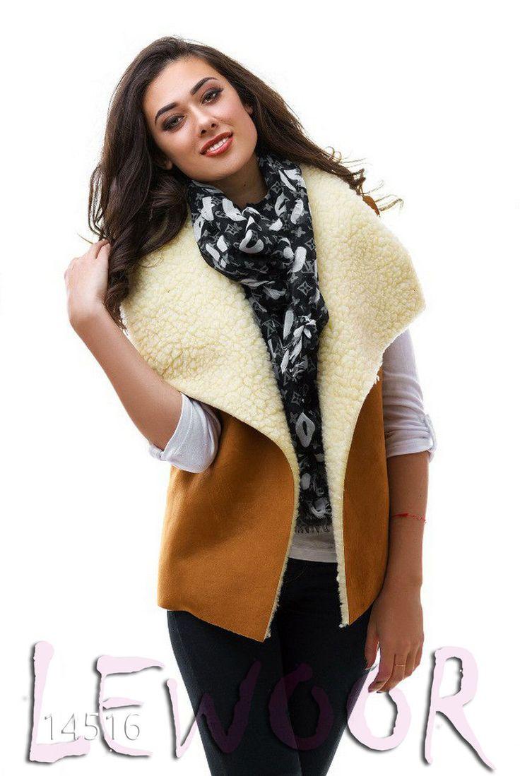 Модный зимний жилет из замши с овчиной - купить оптом и в розницу, интернет-магазин женской одежды lewoor.com