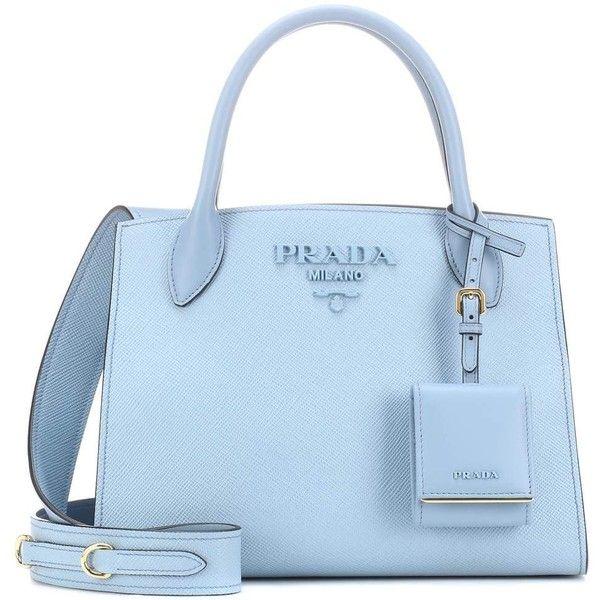 Prada Saffiano Leather Tote ($2,015) ❤ liked on Polyvore featuring bags, handbags, tote bags, blue, prada handbags, blue tote, tote handbags, saffiano leather tote and prada tote bag