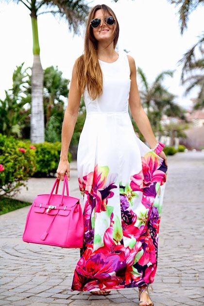 Multicolor Floral Dress - love long dresses, and have NO floral in my closet - love this.