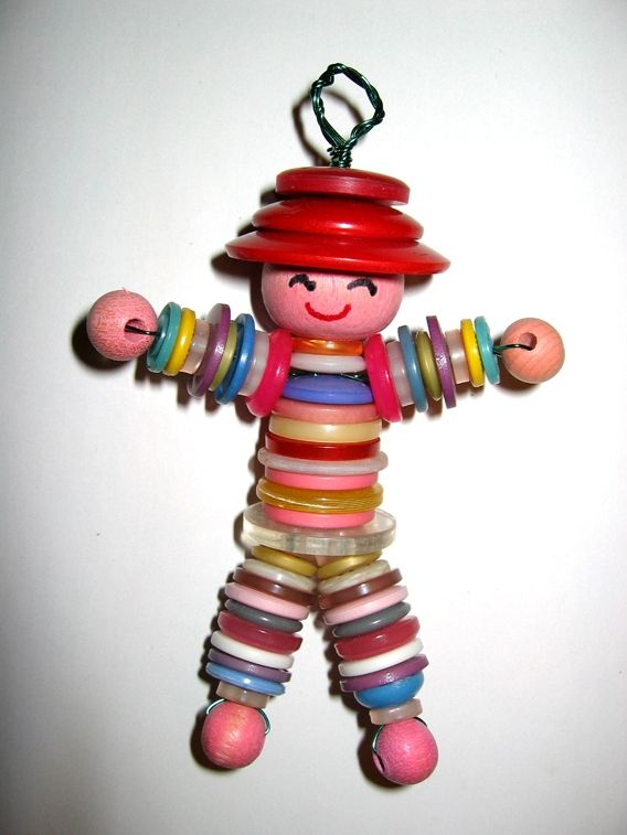 Button Doll Charm  so cute! Got to make this with kids !