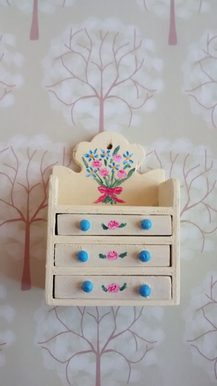 Dolls House 12th scale Distressed wall shelf with drawers by MyMiniatureWorldShop on Etsy