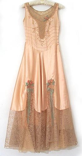 French satin and lace nightgown 1920s                                                                                                                                                                                 More
