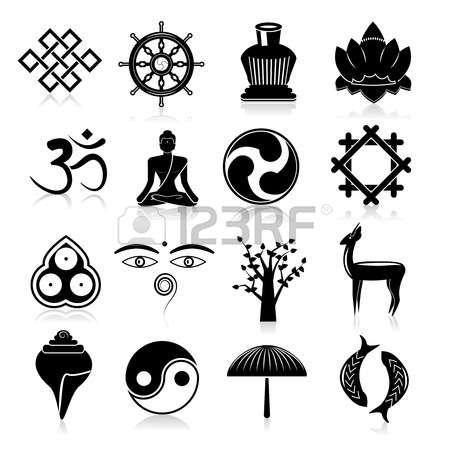 yoga icon: Buddismo yoga simboli tradizionali orientali Set di icone nero illustrazione isolato vettoriale