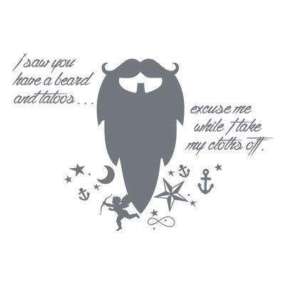 "The Decal Guru Beard Funny Quote Wall Decal Size: 48"" H x 70"" W x 0.01"" D, Color: Storm Gray"