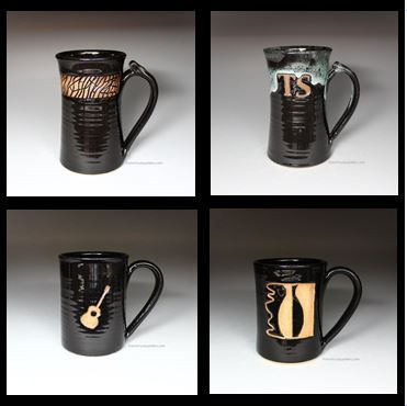 At From Miry Clay Pottery, we take the time to hand carve each design on each mug. No stamps are used, so each one is guaranteed to be original!