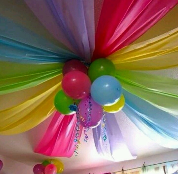 Plastic table cloths, balloons, curly ribbon. Cute.