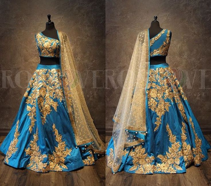 """This """"Blue Gem"""" lehnga by Crossover Bollywood Se is just that! The unique embroidery and color palette is just divine!"""