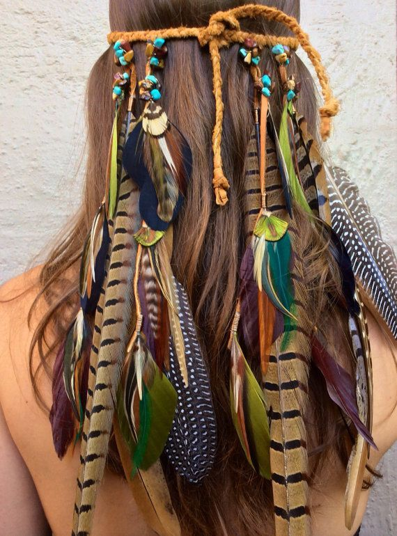 Headband/Hatband // feathers, tribal, hemp, hippie, festival, boho, bohemian, Na...