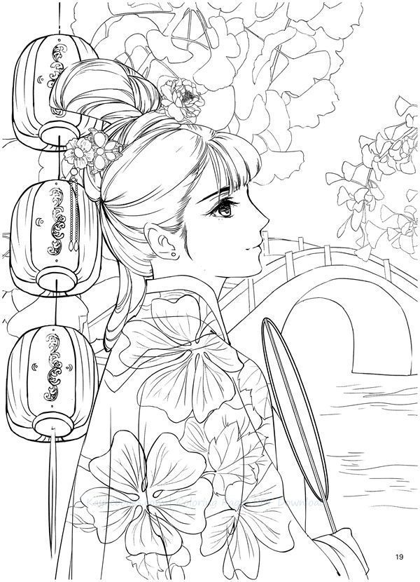 Classic Portrait Coloring Book PDF Download Liu Qingyao Coloring Books,  Cool Coloring Pages, Cute Coloring Pages