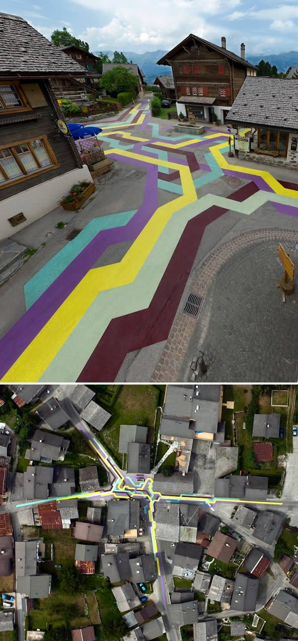 Geometric Streets in Vercorin, Switzerland, created by artists in cooperative project in the city.