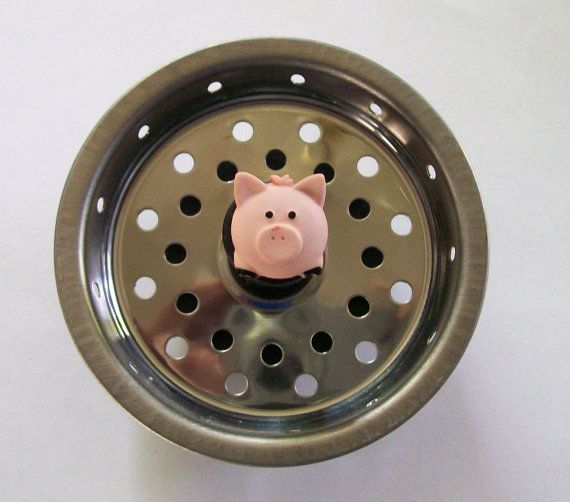 Pudgy pig kitchen sink strainer basket drain plug stopper on etsy pigs pinterest - Decorative kitchen sink strainers ...