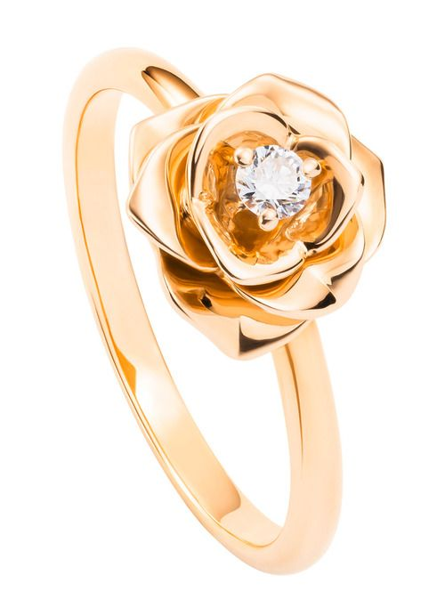 Piaget Rose ring in 18K pink gold set with a brilliant-cut diamond (approx. 0.06 ct).    Via the Jewellery Editor.