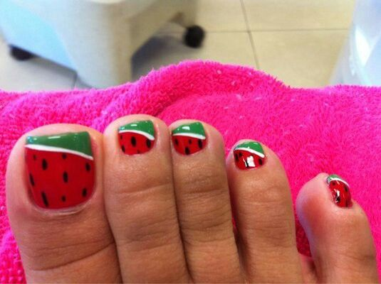 Image result for watermelon toenails