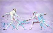 """Olympic Fencers"" by artist Leroy Neiman  http://www.asportinglife.com/"