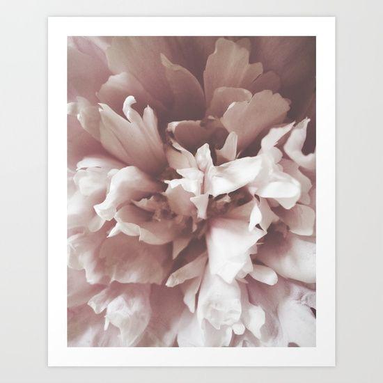 Beautiful peony petals, romantic wall art decor. Dramatic floral interior design. Herself Designs on Society6