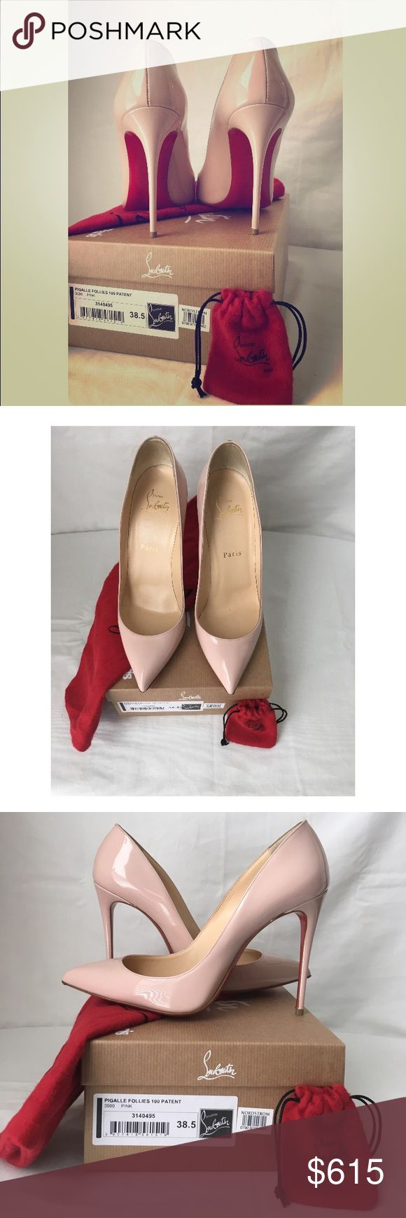 Christian Louboutin Pumps Christian Louboutin Pump 100mm, 38.5, Color Pink, Patent Leather, Red Bottom, 4 Inch Heel, Style Pigalle Follies, Runs Small, Normal Wear at Bottom, Worn Twice, Box & Dust Bag Christian Louboutin Shoes Heels