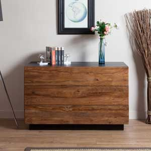 Commode en bois (Teck) 3 tiroirs Senja