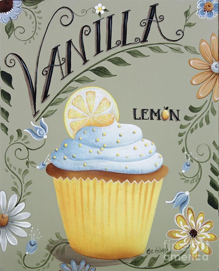 Vanilla Lemon Cupcake Painting  - Vanilla Lemon Cupcake Fine Art Print
