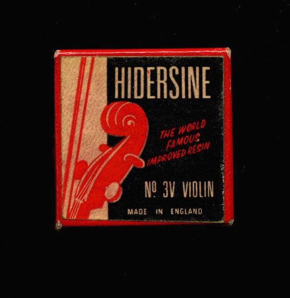 Antique violin rosin in stylish original case with cloth. Cover label reads, Hidersine - The World Famous Improved Rosin - No. 3V Violin - Made