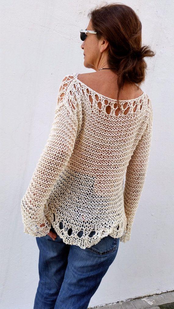 Jersey crema para mujer suéter de punto tejido a mano por EstherTg                                                                                                                                                                                 Más
