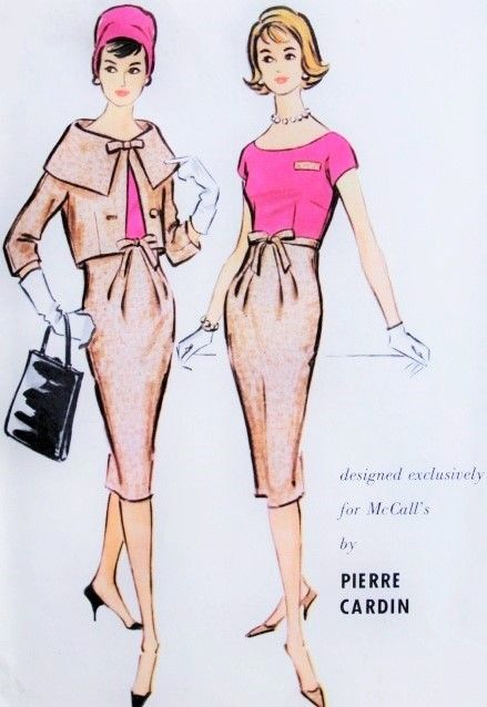 1950s Pierre Cardin Slim Dress and Short Jacket Pattern McCalls 4908 Stunning Cape Collar Boxy Short Jacket Slim Wide Open Neckline Dress Bust 34 Vintage Sewing Pattern FACTORY FOLDED