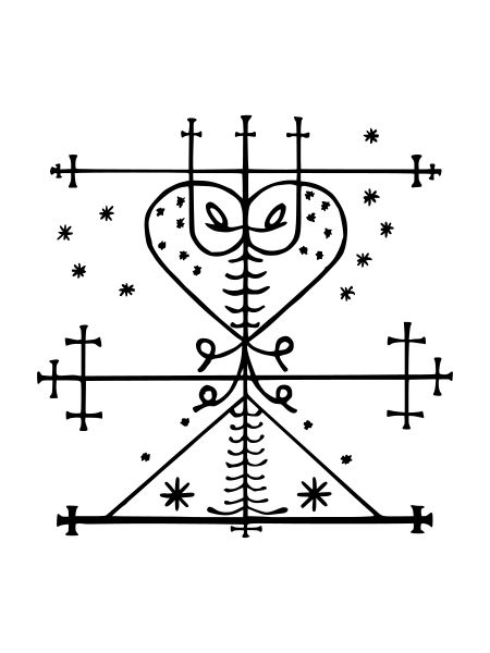 Veve of Maman Brigitte (Grann Brigitte, Manman, Manman Brigit, Manman Brijit) who is a death loa, the wife of Baron Samedi. Maman Brigitte is one of the few Loa who is white and is depicted as being fair-haired and green-eyed with light European skin. She drinks rum infused with hot peppers and is symbolized by a black rooster. She protects gravestones in cemeteries if they are properly marked with a cross.