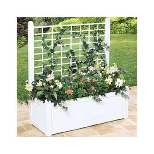 Flower box white trellis plants garden outdoors privacy for Outdoor privacy screen planter