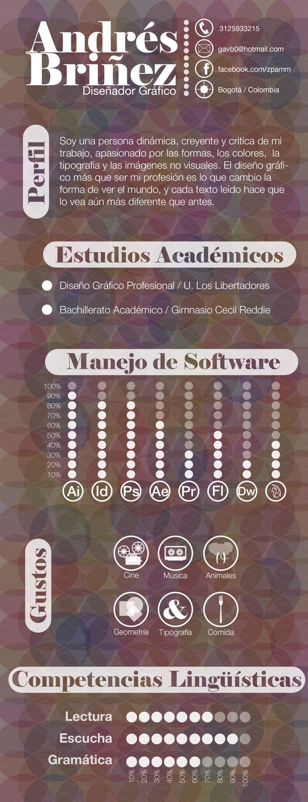 Hoja de vida by Andrés Briñez, via Behance