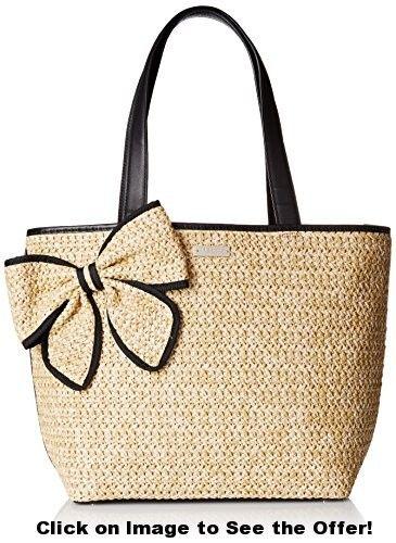 kate spade new york Belle Place Straw Summer Shoulder Bag, Natural/Black, One Size