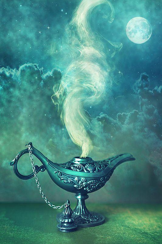 Turquoise | Teal | magic lamp, wish lamp, fantasy, fairy tale | digital retouching, photography