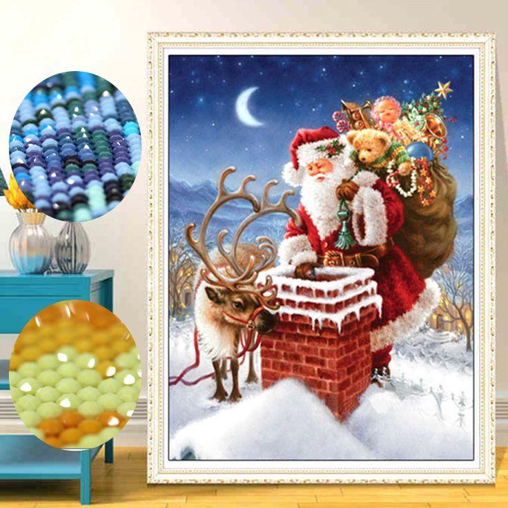 3D DIY Santa Claus Special Shaped Diamond Painting Cartoon Round Diamond Painting Gift Mosaic Diamond Cross Stich Painting