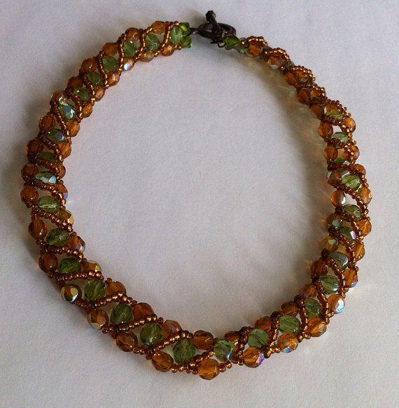 Green-honey colored Swarovski crystal beaded by bonmokishop