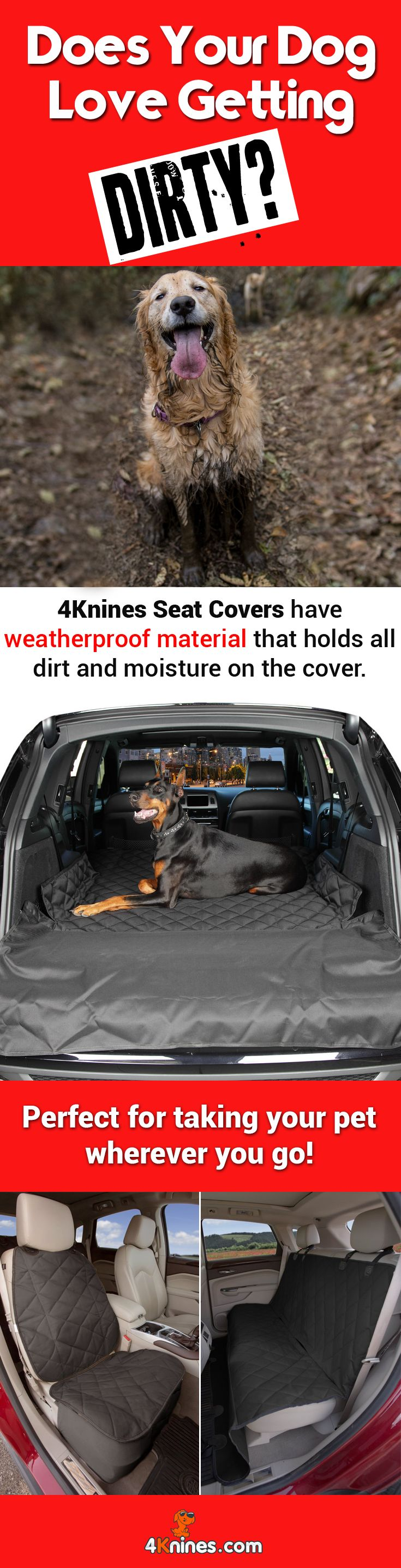 Fed up with cleaning your car seats of dog fur and mud? 4Knines seat covers are made of heavy duty, easy to clean, waterproof material that protects your car seats from fur, dirt and claw marks. http://4knines.com/collections/all/