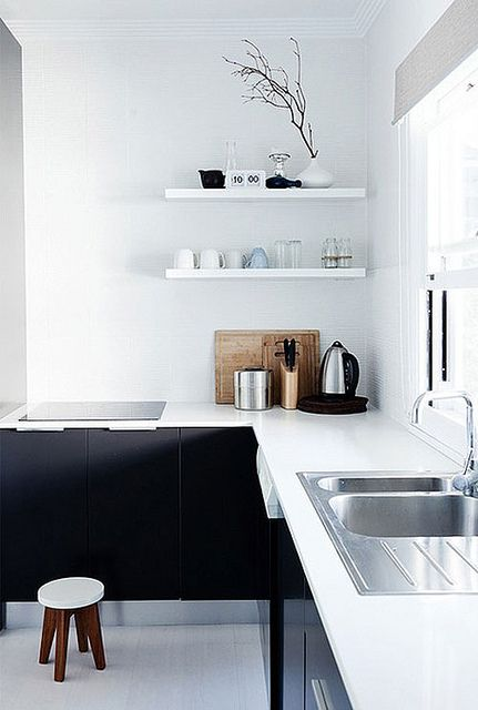 Black & white contemporary small kitchen