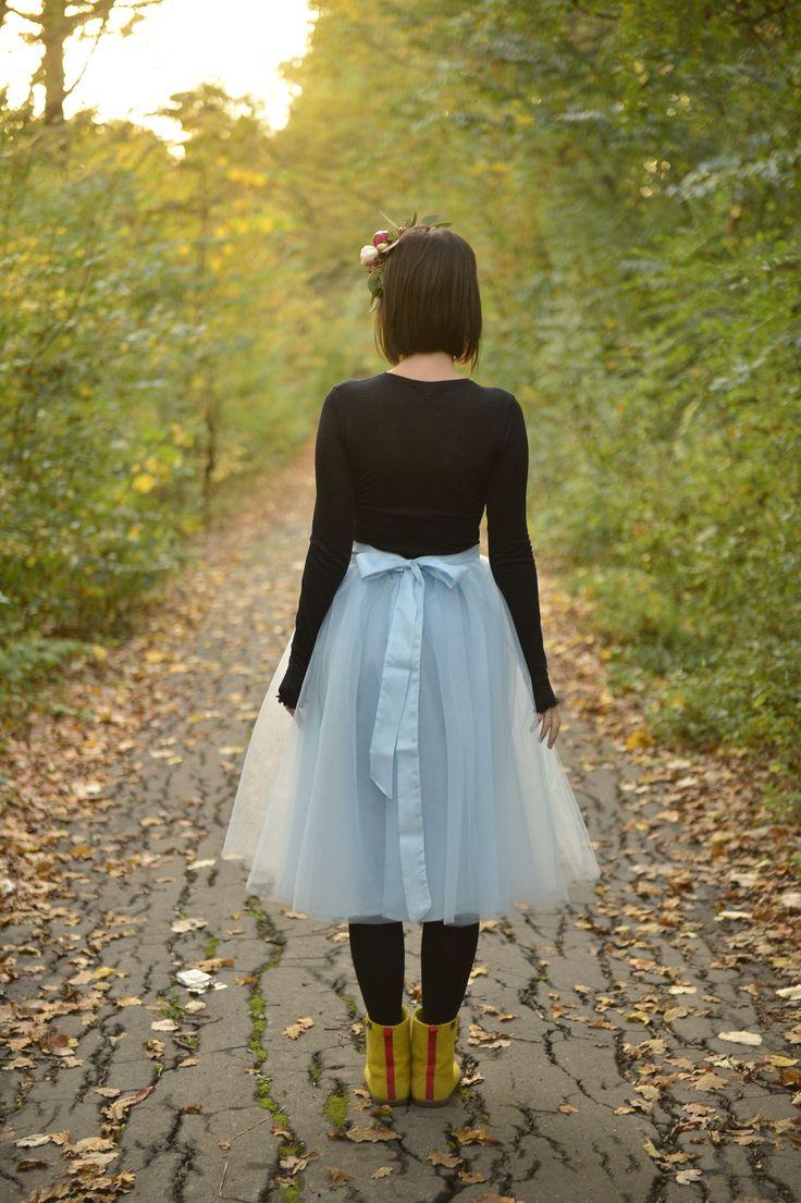 Blue tulle skirt short autumn flower crown