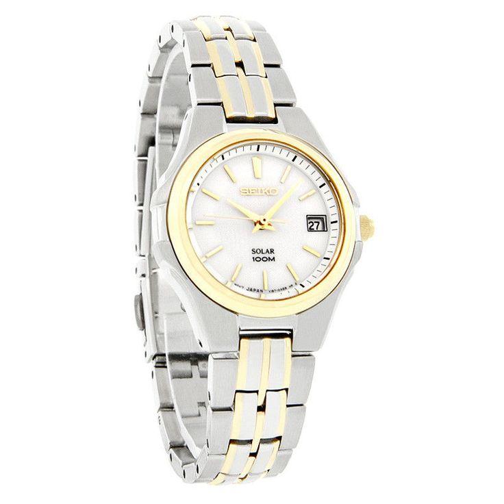 Seiko Solar Ladies White Dial Two Tone Bracelet Dress Quartz Watch SUT038