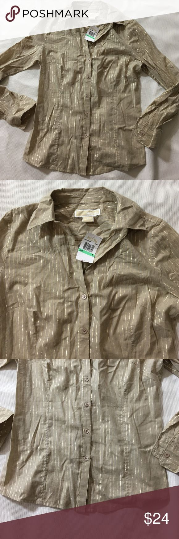 Michael Kors gold long slv button shirt Sz 8 nwt Michael Cors brand-new long sleeve button up shirt size 8 tan or beige color with gold stripes can also be converted into a short sleeve very nice great for the holidays non-smoking home fast delivery at an excellent price get it today MICHAEL Michael Kors Tops Button Down Shirts